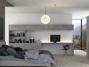 Bedroom in Valore Light Grey, Cashmere (smooth) and Truffle Brown Denver Oak
