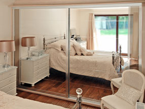 Silver Bevel Mirror Sliding Doors