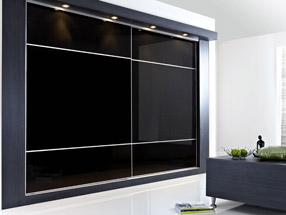Sliding Wardrobe Doors in Black Glass