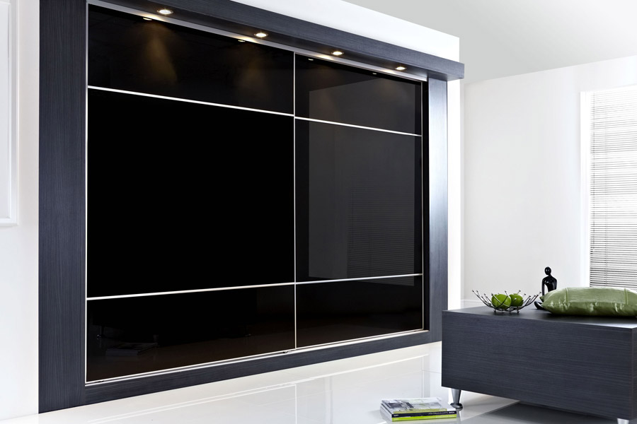 Made to measure sliding wardrobe doors diy homefit ltd for Black sliding glass doors