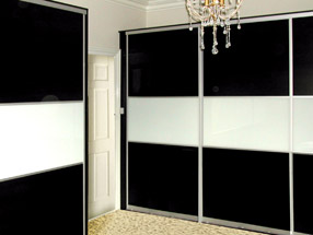 Black & White Glass Sliding Doors