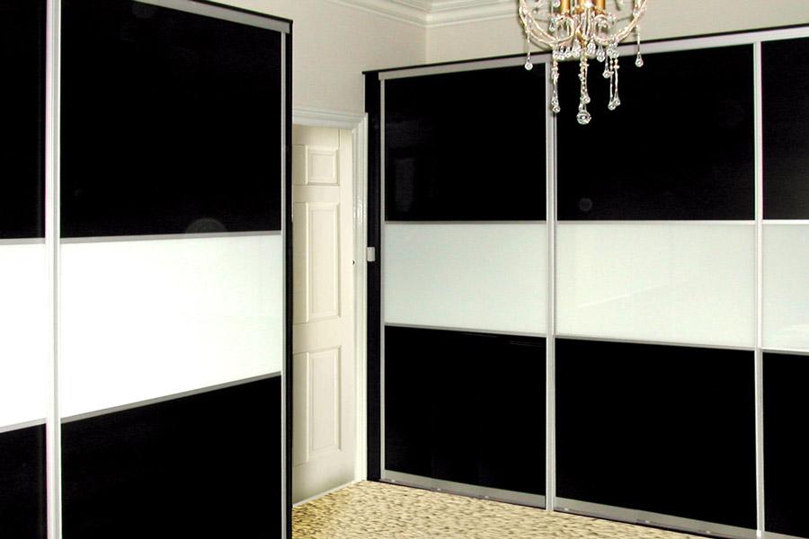 ... Design Your Own Sliding Wardrobe Doors · Black U0026 White Glass Sliding  Doors
