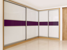 Sliding Doors in Bright White & Burgundy Glass