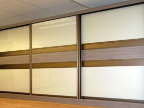 Pearl White & Dark Brown Glass & Driftwood Sliding Doors