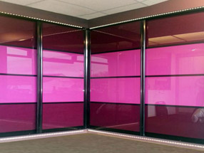 Sliding Doors in Aubergine & Fuchsia Glass