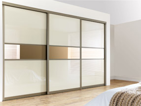 Pearl White & Bronze Sliding Doors