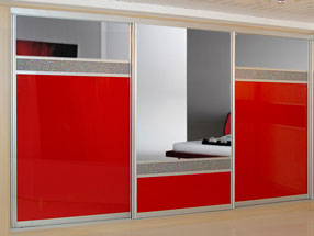 Red Luminous Glass, Holographic glass & Silver Mirror Sliding Doors
