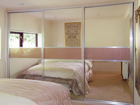 Silver Mirror & Metallic Gold Glass Sliding Doors