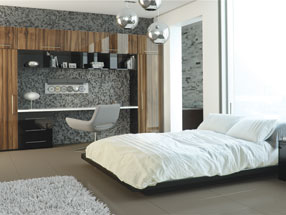 Acrylic Ultragloss Bedroom in Acrylic Black & Acrylic Noce Marino