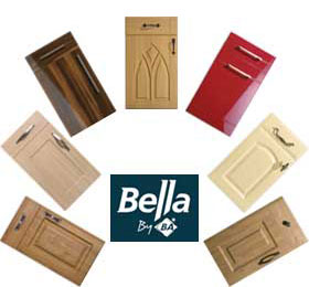 Bella logo with kitchen door pictures