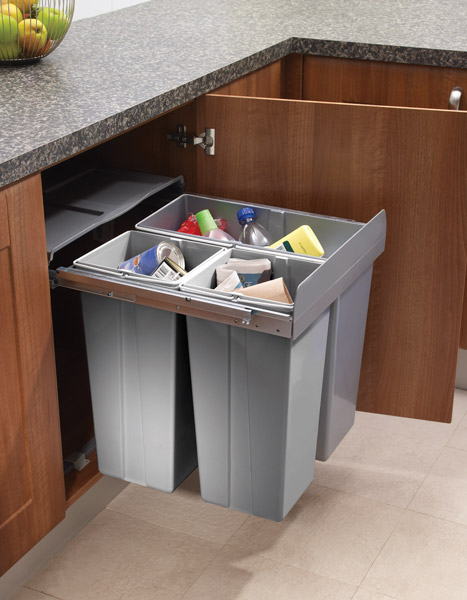 Kitchen Bins Fixed To The Inside Of Doors