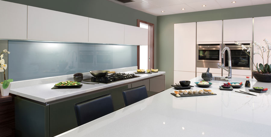 Glossy Paloma White Axiom Formica Laminated Worktop