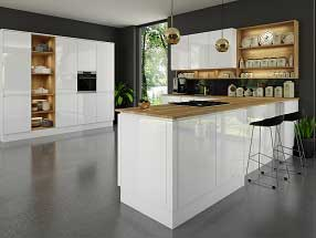 Handleless J-Pull Kitchen in Supergloss White