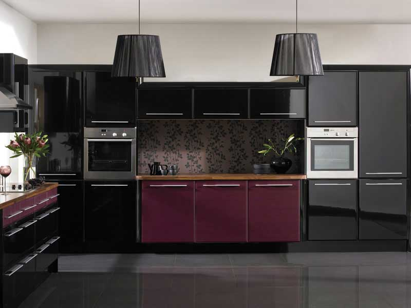 Kitchen styles and designs for custom made kitchens diy for Black and purple kitchen ideas