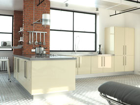 Acrylic Ultragloss Kitchen in Acrylic Cream