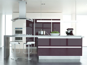 Acrylic Ultragloss Kitchen in Acrylic Plum
