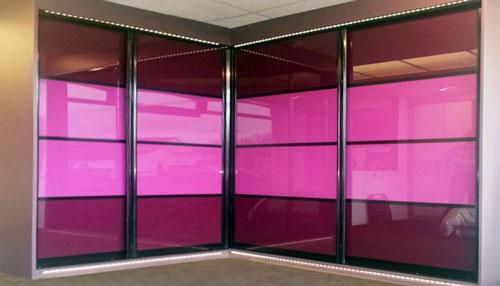 Sliding door finishes for custom made furniture for Coloured glass panels