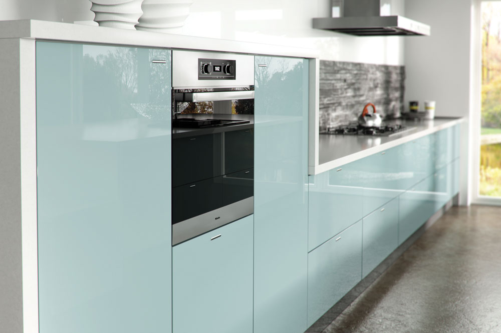 Ultragloss Metallic Blue Kitchen Door Custom Made Kitchens
